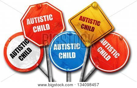 Autistic child sign, 3D rendering, rough street sign collection