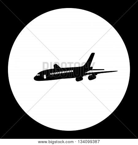 Airliner Passanger Aircraft Simple Black Isolated Icon Eps10