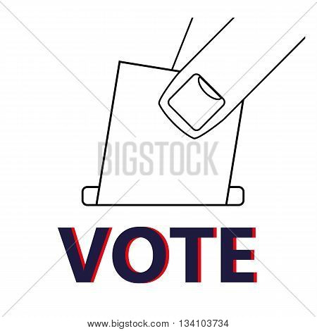 Close up of fingers placing a ballot paper into a box above the word VOTE as a reminder to take part in an election or referendum
