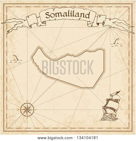 Somaliland Old Treasure Map. Sepia Engraved Template Of Pirate Map. Stylized Pirate Map On Vintage P