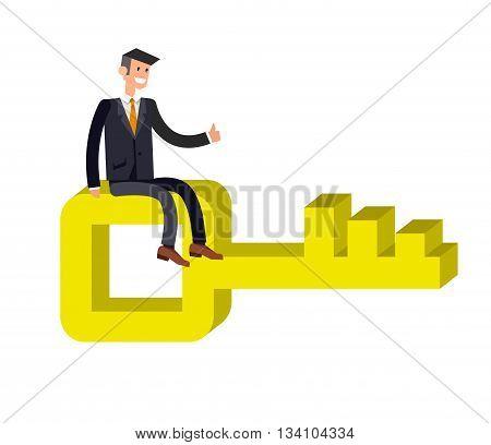 Business movement towards solution concept flat web vector. Business Man carry big golden key poster