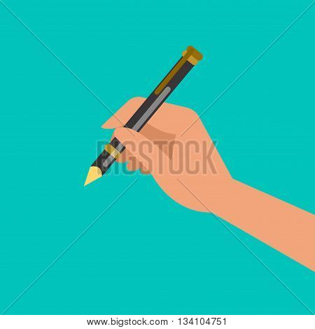 Hand holding pen, hand writing. Vector illustration