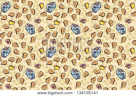 Toasty wallpaper pattern, for a fun breakfast background