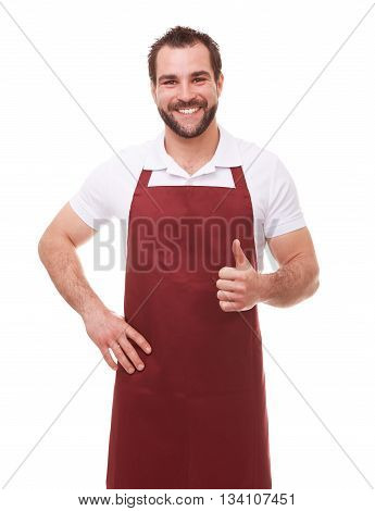 Happy Man With Red Apron Makes A Gesture Thumb Up On White Background