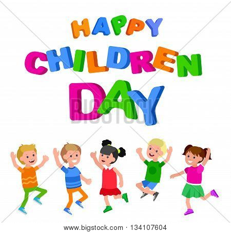 Happy childrens day background. Happy childrens day card. Lettering for childrens day. Childrens day lettering background