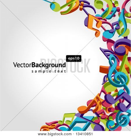 Colorful music background with fly notes