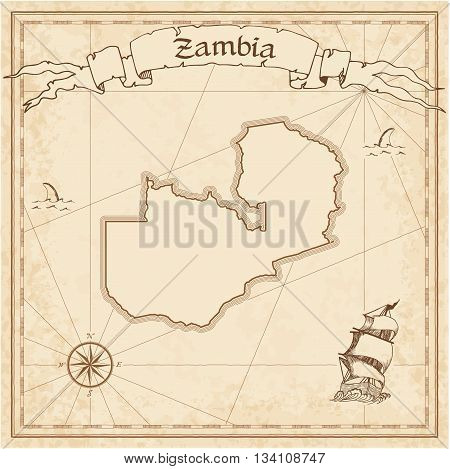 Zambia Old Treasure Map. Sepia Engraved Template Of Pirate Map. Stylized Pirate Map On Vintage Paper
