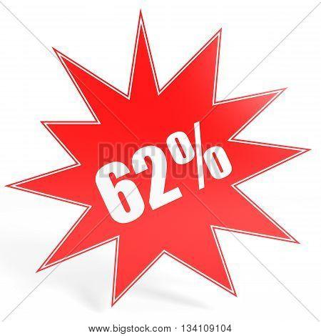 Discount 62 Percent Off. 3D Illustration.