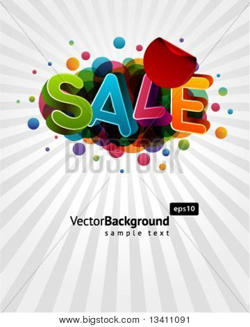 3d sale message with percents colorful background