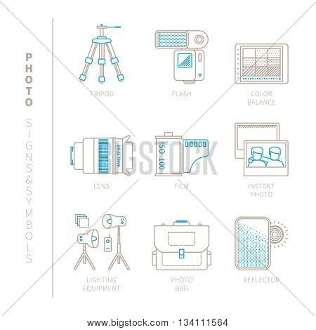 Set Of Vector Photography Icons And Concepts In Mono Thin Line Style