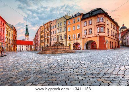 OLOMOUC, CZECH REPUBLIC - JUNE 05, 2016: One of the main squares in the old town of Olomouc, Czech Republic on June 05, 2016.