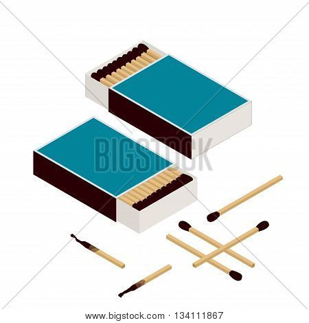 Matches and matchbox. Isolated on white. New matchstick. Burning matchstick. Burned matchstick. Flat 3d vector isometric illustration