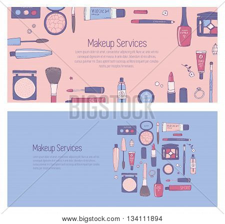 Hand drawn vector template for banner for web page with makeup and other cosmetics products. Lipstick mascara shadows make-up brushes. Rose Quartz and serenity. Fashion or beauty background