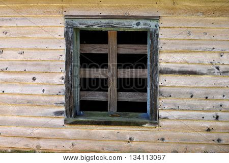 Vintage wooden wall and window background exterior