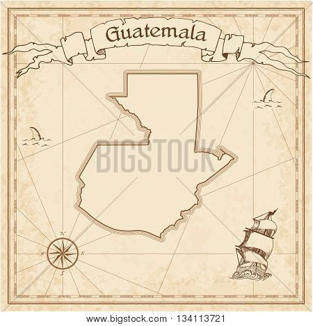 Guatemala Old Treasure Map. Sepia Engraved Template Of Pirate Map. Stylized Pirate Map On Vintage Pa