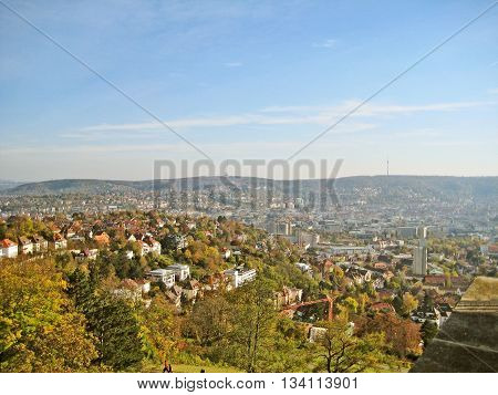View over the german city stuttgart with city landmark tv tower called