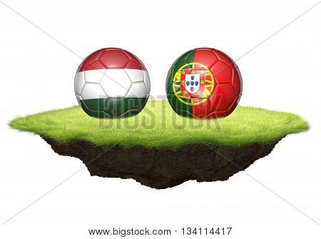 Hungary vs Portugal team balls for football, 3D rendering