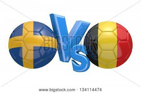Football competition between national teams Sweden vs Belgium, 3D rendering