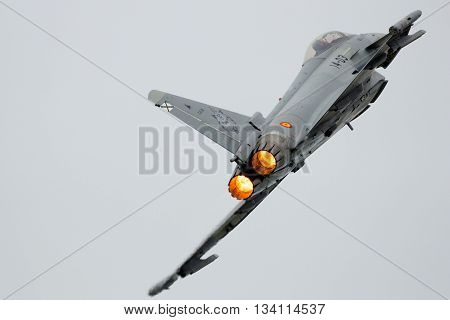 LEEUWARDEN THE NETHERLANDS - JUN 10 2016: Spanish Air Force Eurofighter Typhoon take-off with afterburner