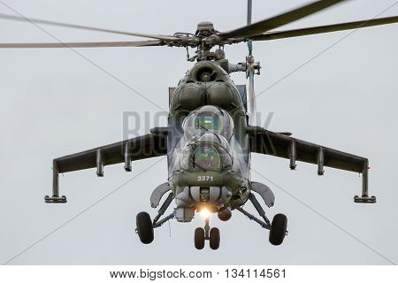 LEEUWARDEN THE NETHERLANDS - JUN 10 2016: Front view of a Russian made Mil Mi-24 Hind attack helicopter