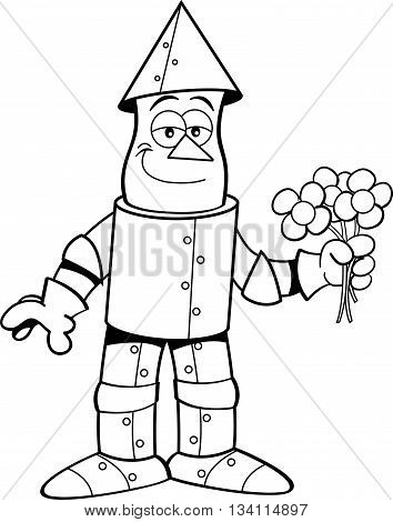 Black and white illustration of a tin man holding flowers.
