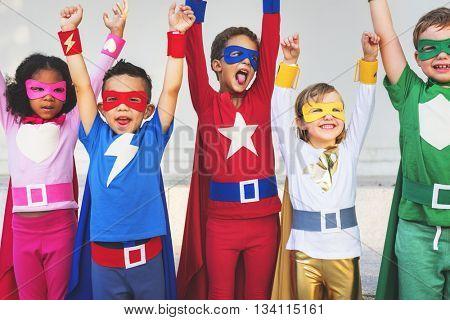 Superheroes Kids Teamwork Aspiration Elementary Concept