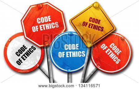 code of ethics, 3D rendering, rough street sign collection