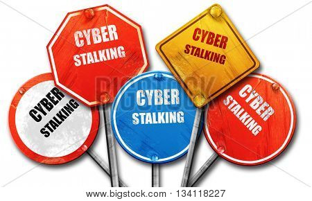 Cyber stalking background, 3D rendering, rough street sign colle poster