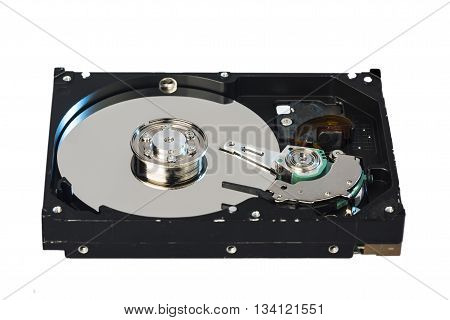 Inside of internal Harddrive HDD isolated on white background