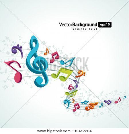 Sfondo colorato musica con note di volare
