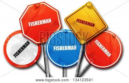 fisherman, 3D rendering, rough street sign collection