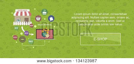 E-shop. Web banner slider or vector flat background.