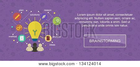 Brainstorming ideas. Web banner slider or vector flat background.