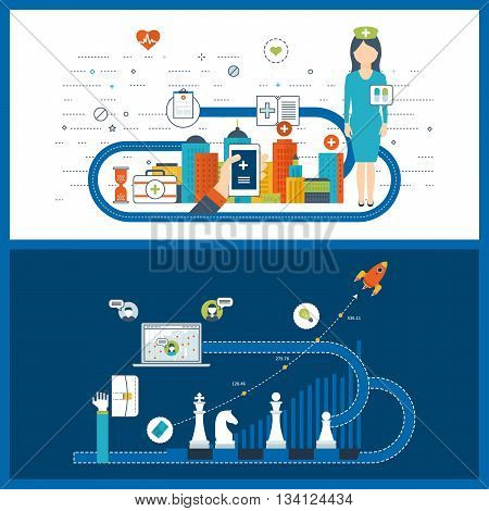 Vector illustration concept for healthcare, medical help and research. Medical center and hospital building. Investment business. Business development. Financial strategy and report.