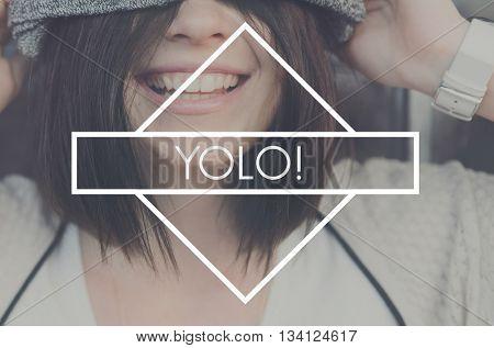 Yolo Fun Life Adventure Abbreviation Phrase Enjoy Concept