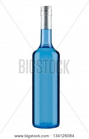 bottle of blue absinthe, isolated on white