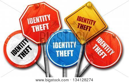 Identity theft fraud background, 3D rendering, rough street sign