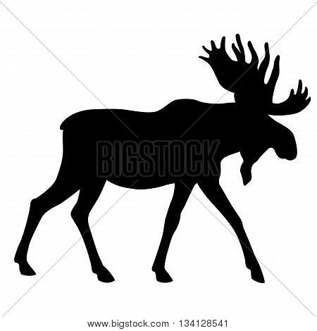 adult moose go black silhouette vector illustration