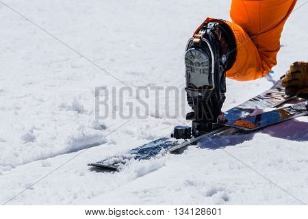 Snowshoes and ski equipment Skiing equipment and extreme winter sports at place for skiing