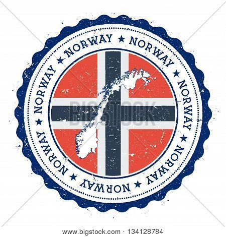 Norway Map And Flag In Vintage Rubber Stamp Of State Colours. Grungy Travel Stamp With Map And Flag
