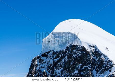 Alpine Alps mountain landscape and place for skiing at Matterhorn Switzerland Peak of the snowy mountain from Alps Swiss