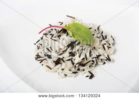 Prepared mixed black and white steamed rice