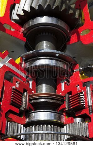Bulldozer drive gear mechanism cross section, sprockets, bearings, bolts of diesel engine, large construction machine, heavy industry, detail