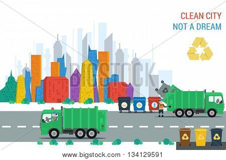 Vector flat concept clean city. Two recycling truck with workers make cleanup gabrage bins near road. Truck workers and containers. Web infographic