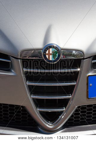Tel Aviv, Israel, June 12, 2016: Alpha Romeo car front - Grill and emblem.Alpha Romeo is an Italian car manufacturer. Founded as A.L.F.A. (