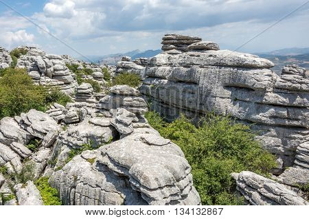 View of the El Torcal de Antequera national park in Andalusia, Spain