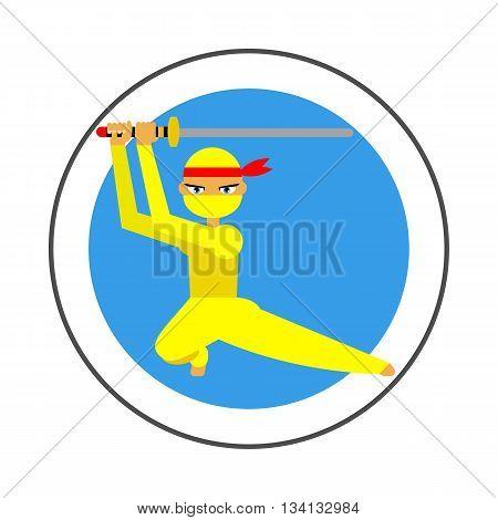 Female ninja vector icon. Colored line illustration of female ninja in yellow costume with katana sword