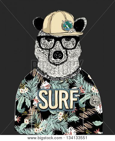 tropical pattern dressed bear illustration 2