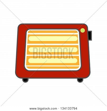 Space heater vector icon. Colored line icon of portable space heater with switch