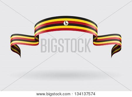 Ugandan flag wavy abstract background. Vector illustration.